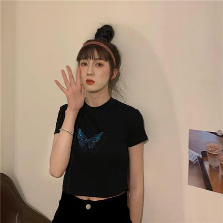 バタフライ Tシャツ 半袖 ショート丈 ブラック 韓国ファッション レディース 蝶 黒 かわいい ガーリー DTC-615160318594_bk