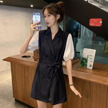 ワンピース トレンチ風 フェイクレイヤード 韓国ファッション レディース Aライン ダブルブレスト シンプル ガーリー フェミニン DTC-616848359436