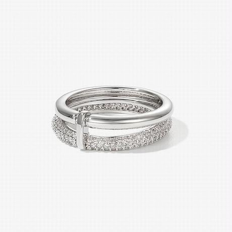 リング 指輪 キュービックジルコニア シンプル 韓国アクセサリー 2連リング CZ 合金 アクセサリー ジュエリー (DTC-608877143532)