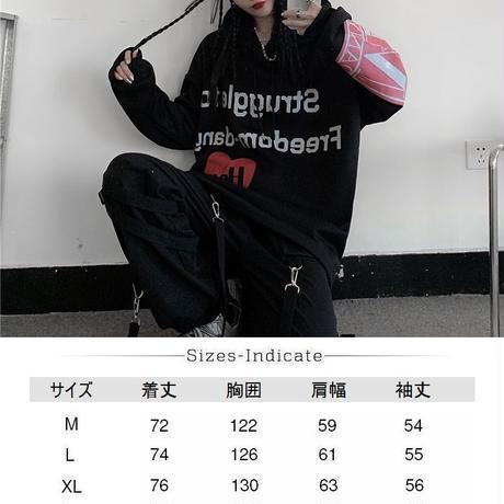 ユニセックス パーカー ハート 英字 袖プリント バックプリント プラスベルベット オーバーサイズ 韓国ファッション 大きめ カジュアル ストリート系 DTC-611075967613_M8-490