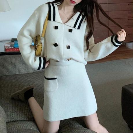 セットアップ 2点セット ニット ニットスーツ ニットスカート スクエアボタン 韓国ファッション レディース 長袖 ハイウエスト 大人可愛い ガーリー DTC-626547683921