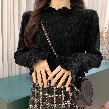 【トップス】 ハーフハイネック 長袖 ボトミングシャツ 韓国ファッション レディース アプリコット ブラック 大人可愛い かわいい ガーリー 630346324534