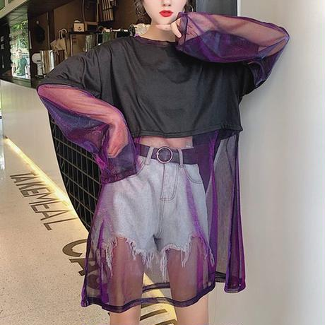 レディース Tシャツ ドッキング シースルー 無地 ラウンドネック トップス ガーリー フェミニン 韓国ファッション (DCT-598080019695)
