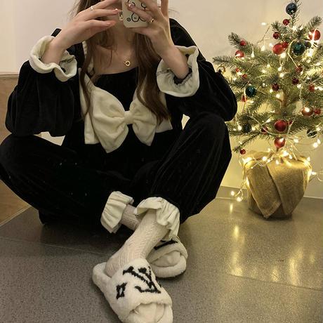 ルームウェア パジャマ セットアップ リボン ベルベット トップス + パンツ 長袖 上下セット 韓国ファッション レディース ガーリー 636735198622