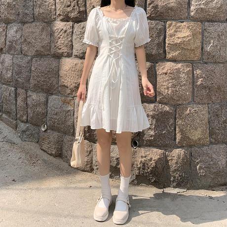 編み上げ ウエスト絞り ワンピース パフ袖 韓国ファッション レディース スクエアネック Aライン ハイウエスト かわいい ガーリー DTC-618967956615