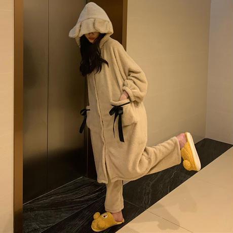 ルームウェア フード付き パジャマ セットアップ ナイトガウン + パンツ フリース ベルベット 長袖 上下セット 長袖 韓国ファッション レディース ガーリー 636487339930