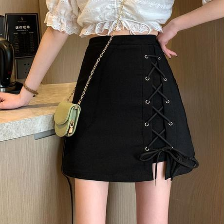 スカート サイドレースアップ 編み上げ ハイウエスト 韓国ファッション レディース 台形スカート Aラインスカート 大人可愛い ガーリー DTC-646772375090