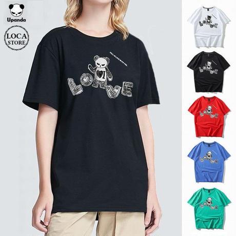 UPANDA 【5カラー】ユニセックス メンズ/レディース 半袖 Tシャツ パンダプリント ストリート系 人気 インスタ (DCT-595884871552)