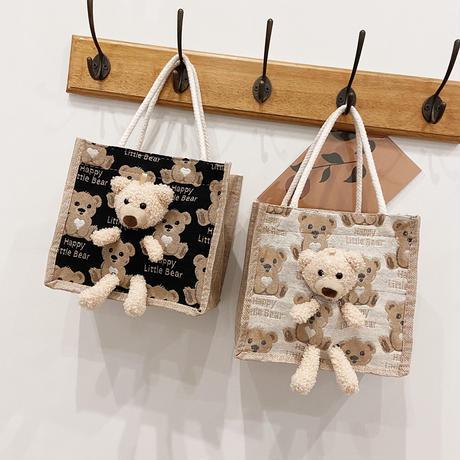 クマのぬいぐるみ付き 麻バッグ クマ柄 ハンドバッグ キャンバスバッグ ミニバッグ ジッパー シンプル レトロ DTC-642371601971
