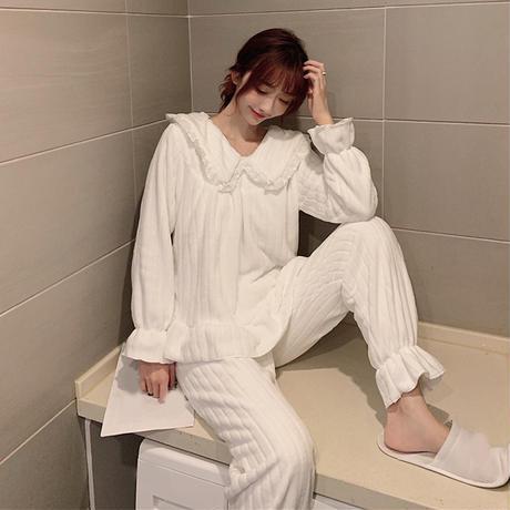 ルームウェア パジャマ セットアップ コーラルフリース トップス + パンツ 長袖 上下セット 韓国ファッション レディース ホワイト ブルー ガーリー 630856660553