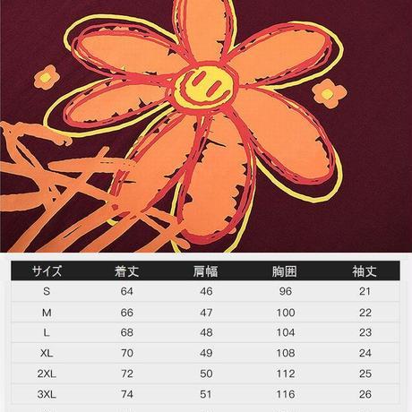 ユニセックス Tシャツ 半袖 メンズ レディース 落書き風 スマイル ニコちゃん フラワープリント オーバーサイズ 大きいサイズ ストリート TBN-612438889881