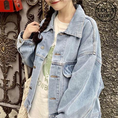レディース デニムジャケット Gジャン ジャケット 長袖 体型カバー フェミニン 韓国ファッション オルチャン (DCT-589810627482)