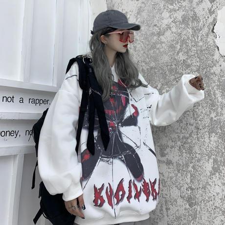 プルオーバー パーカー クマ ベアー グラフィティプリント ルーズ 韓国ファッション レディース オーバーサイズ カジュアル ストリート DTC-630321706131