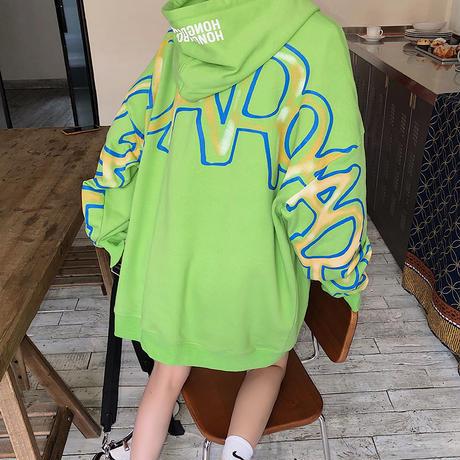 ユニセックス プルオーバー パーカー メンズ レディース 英字 袖プリント バックプリント オーバーサイズ ルーズ 大きいサイズ ストリート ファッション TBN-623726253642