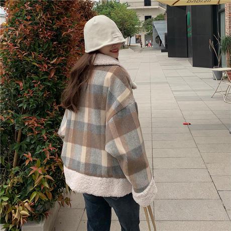 チェック柄 ボアジャケット ボアブルゾン ラムウール 韓国ファッション レディース 切り替え 折り襟 キルティング フロントボタン 大人可愛い ガーリー DTC-630519392038