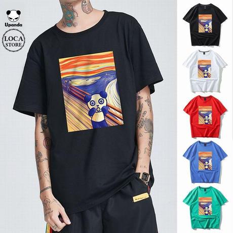 UPANDA 【5カラー】ユニセックス メンズ/レディース 半袖 Tシャツ パンダの叫び パンダプリント 人気 インスタ ストリート系 (DCT-597546368539)