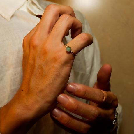 ボヘミアンリゾート リング イヤカフ 2Way 金属アレルギー対応 指輪 アマゾンナイト 石 フリーサイズ メンズ レディース サージカルステンレス インスタ mnk22