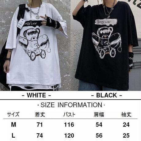 ユニセックス Tシャツ 半袖 ドロップショルダー ダーティーベア オーバーサイズ 韓国ファッション メンズ レディース トップス 暗黒系 ストリートファッション DTC-621077252226
