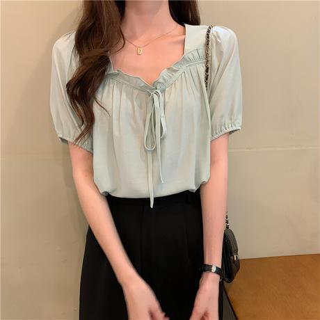 スクエアネック ブラウス ボウタイ 半袖 薄手 ルーズ 韓国ファッション レディース 大人可愛い ガーリー フェミニン DTC-648914501880
