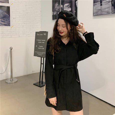 シャツワンピース ベルト シャツ 長袖 韓国ファッション レディース トップス ゆったり 大人可愛い ガーリー フェミニン カジュアル DTC-627127092317