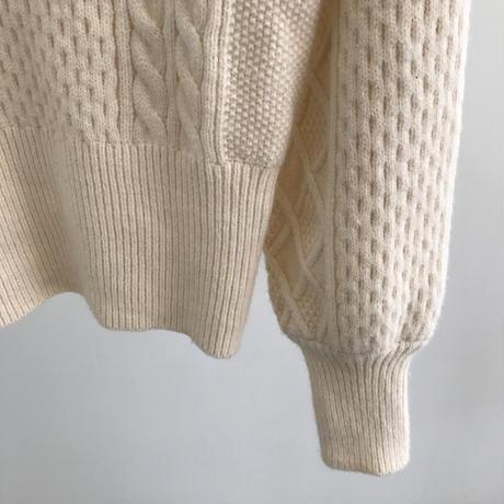 ケーブル編み ニット セーター スクエアネック 韓国ファッション レディース パフスリーブ トップス ルーズ ゆったり 厚い ウール混紡 大人可愛い ガーリー DTC-625666098582