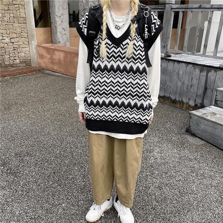 ユニセックス ニットベスト ジャガード柄 波柄 Vネック ゆったり ルーズ オーバーサイズ 韓国ファッション レディース メンズ カジュアル レトロ DTC-655127019370