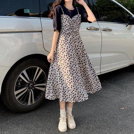 花柄 フェイクレイヤード ワンピース 半袖 Aライン ベルフラワースカート ハイウエスト 韓国ファッション レディース 大人可愛い ガーリー DTC-641546687131