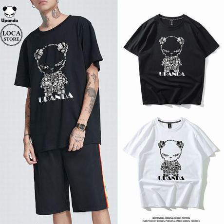 UPANDA ユニセックス メンズ/レディース 半袖 Tシャツ ゲームパンダ パンダプリント 人気 インスタ ストリート系 (DCT-596789861119)
