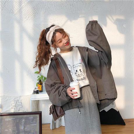 マウンテンパーカー レディース ライトアウター ジャケット ボリューム袖 パフ袖 グレー 大きいフード 大人カジュアル 春 秋 韓国 韓国ファッション (DTC-601887049923_1)
