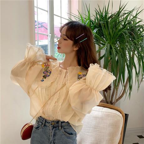花柄 刺繍 ブラウス 大きい襟 長袖 ベルスリーブ 韓国ファッション レディース フラワー トップス ゆったり トランペットスリーブ 大人可愛い ガーリー DTC-623227985292