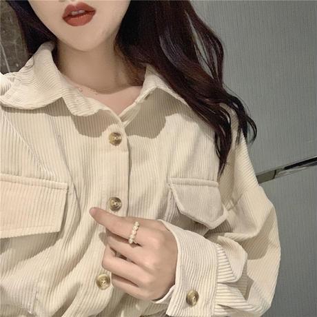 ベルト付き コーデュロイジャケット コーデュロイシャツ 韓国ファッション レディース 長袖 ゆったり カジュアル 大人カジュアル 大人可愛い ガーリー DTC-602944254740