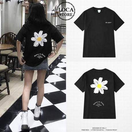 ユニセックス メンズ/レディース Tシャツ 花柄 大きいサイズ ストリート系 韓国ファッション オルチャン (DCT-590944428784)