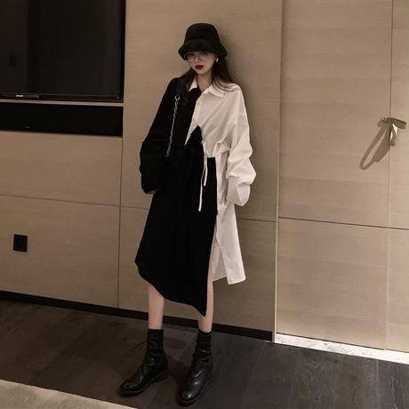 不規則デザイン シャツワンピース アシンメトリー サイドスリット 韓国ファッション レディース アシメ 異素材切り替え ハイウエスト 長袖 大人可愛い ガーリー DTC-627054851512