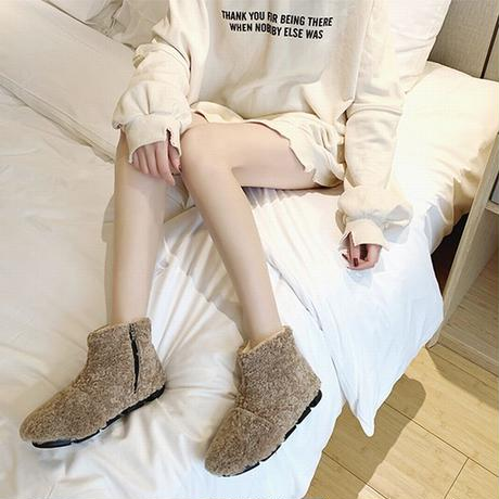 ファーブーツ サイドジッパー ムートンブーツ 22.5~25.0cm 韓国ファッション レディース ボアブーツ 防寒 もこもこ 履きやすい カジュアル 629344759597