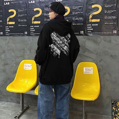 ユニセックス プルオーバー パーカー 裏起毛 韓国ファッション メンズ レディース X文字 バツ プリント オーバーサイズ ストリート DTC-611092783031