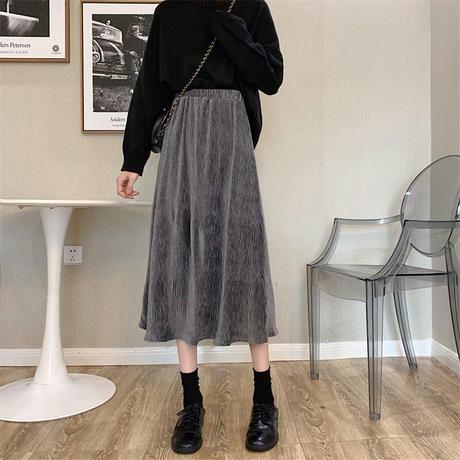 Aラインスカート コーデュロイ ミディ丈 フレア ハイウエスト 韓国ファッション レディース 大人可愛い ガーリー DTC-629491089822