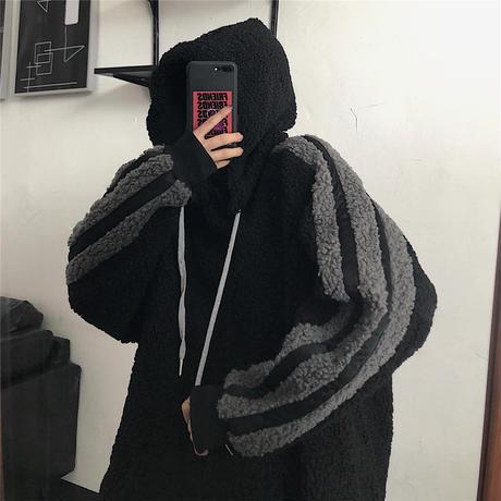 ユニセックス 男女兼用 ボアパーカー 袖ライン ラムウール ルーズ 韓国ファッション メンズ レディース プルオーバー パーカー ボア カジュアル ストリート系 DTC-630815073305