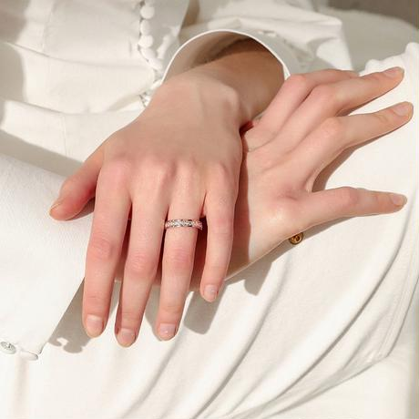 リング キラキラ 韓国アクセサリー 指輪 CZ ピンクゴールド ローズゴールド チタン ステンレス 金属アレルギー アクセサリー ジュエリー (DTC-564887933580)