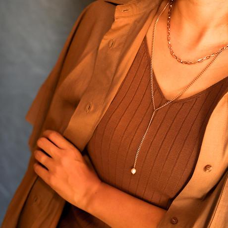 ボヘミアンリゾート 2連 ネックレス パール 金属アレルギー対応 ステンレス メンズ レディース シルバー ゴールド ピンクゴールド インスタ mnk02