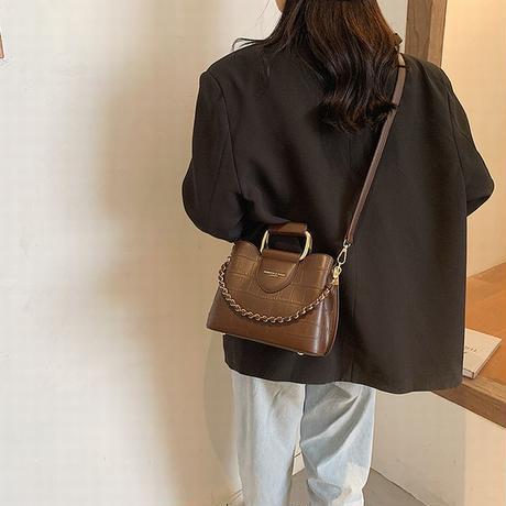 2WAY ハンドバッグ ショルダーバッグ ファスナー ミニバッグ スクエアバッグ バッグ 鞄 レトロ ブラック ホワイト ブラウン ワインレッド DTC-625751564330