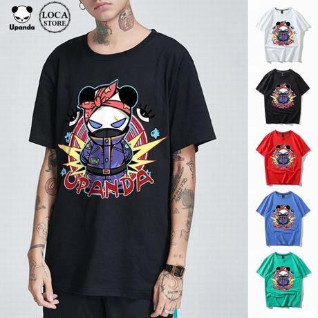 UPANDA 【5カラー】ユニセックス メンズ/レディース 半袖 Tシャツ パンダプリント ストリート系 人気 インスタ (DCT-590345037300)
