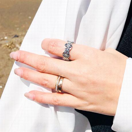 ハワイアンジュエリー リング 指輪 スクロール プルメリア ウェーブ CZ 金属アレルギー対応 メンズ レディース キュービックジルコニア サージカルステンレス インスタ grs8736