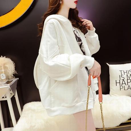 うさ耳 パーカー フルジップアップ 薄手 オーバーサイズ 韓国ファッション レディース トップス 大きめ うさぎ カジュアル ストリートファッション DTC-654223928310