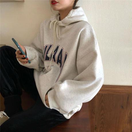 プルオーバー パーカー ルーズ プラスベルベット 英字 長袖 韓国ファッション レディース フード付き カジュアル ストリート 609173851561