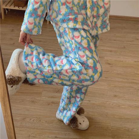 【ルームウェア】 選べる2タイプ パジャマ セットアップ トップス + パンツ フロントボタン フリース 長袖 上下セット 長袖 韓国ファッション レディース ガーリー 633212166815