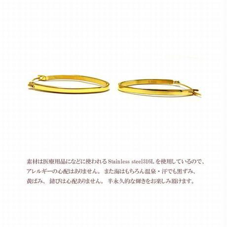 【両耳用】3.5cm オーバルフープ ステンレス ピアス ゴールド プレゼント ギフト 金属アレルギー対応 eh841g