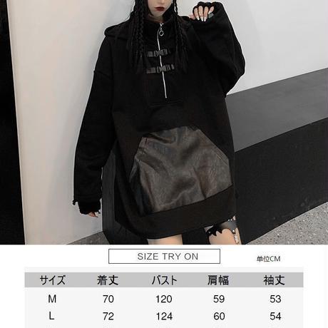 耳付き パーカー ハーフジップ ルーズ プラスベルベット 韓国ファッション レディース ストリート系 ジップアップ トップス オーバーサイズ カジュアル DTC-631081434447