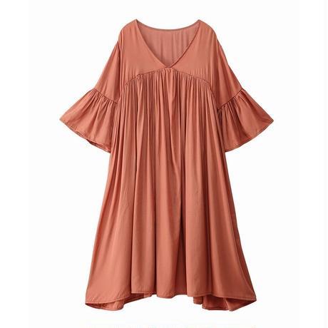 レディース ワンピース チュニック フレア袖 ハイウエスト ギャザー ゆったり フェミニン 韓国ファッション (DCT-593658490330)