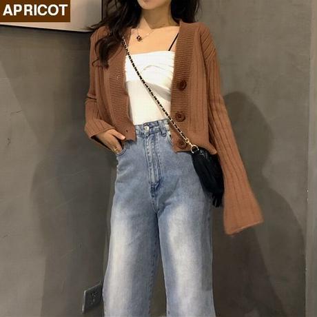レディース ロングスリーブ Vネックショート丈カーディガン 韓国ファッション オルチャン (DCT-580666868167)
