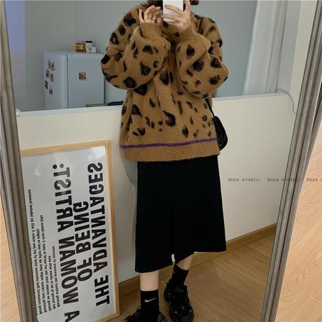 ニット セーター 3カラー レオパード柄 ヒョウ柄長 袖 プルオーバー 韓国ファッション レディース トップス ラウンドネック 大人可愛い かわいい ガーリー 631280182413